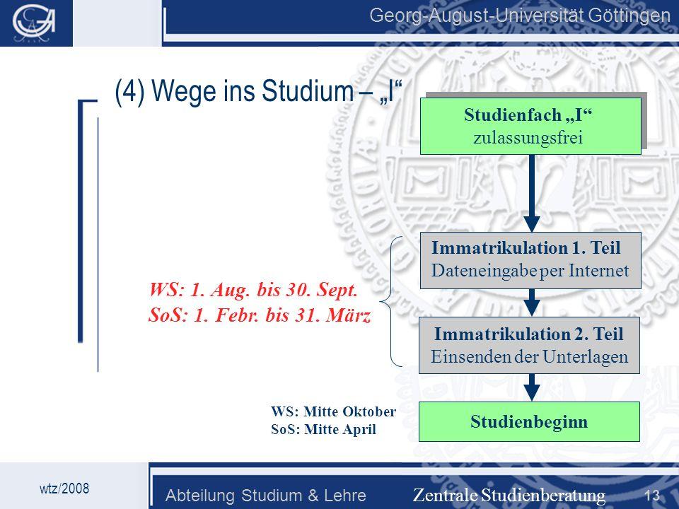 """(4) Wege ins Studium – """"I"""