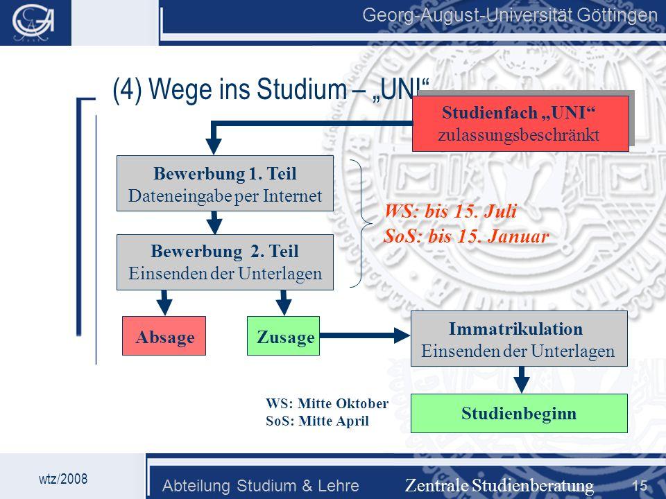 "(4) Wege ins Studium – ""UNI"