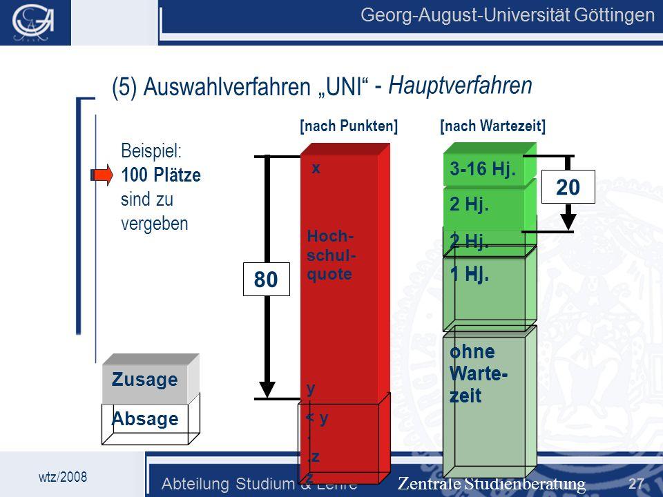 """(5) Auswahlverfahren """"UNI - Hauptverfahren"""
