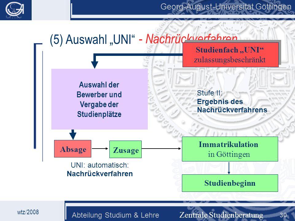 Auswahl der Bewerber und Vergabe der Studienplätze
