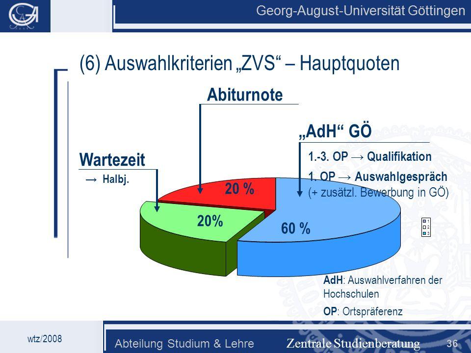 """(6) Auswahlkriterien """"ZVS – Hauptquoten"""