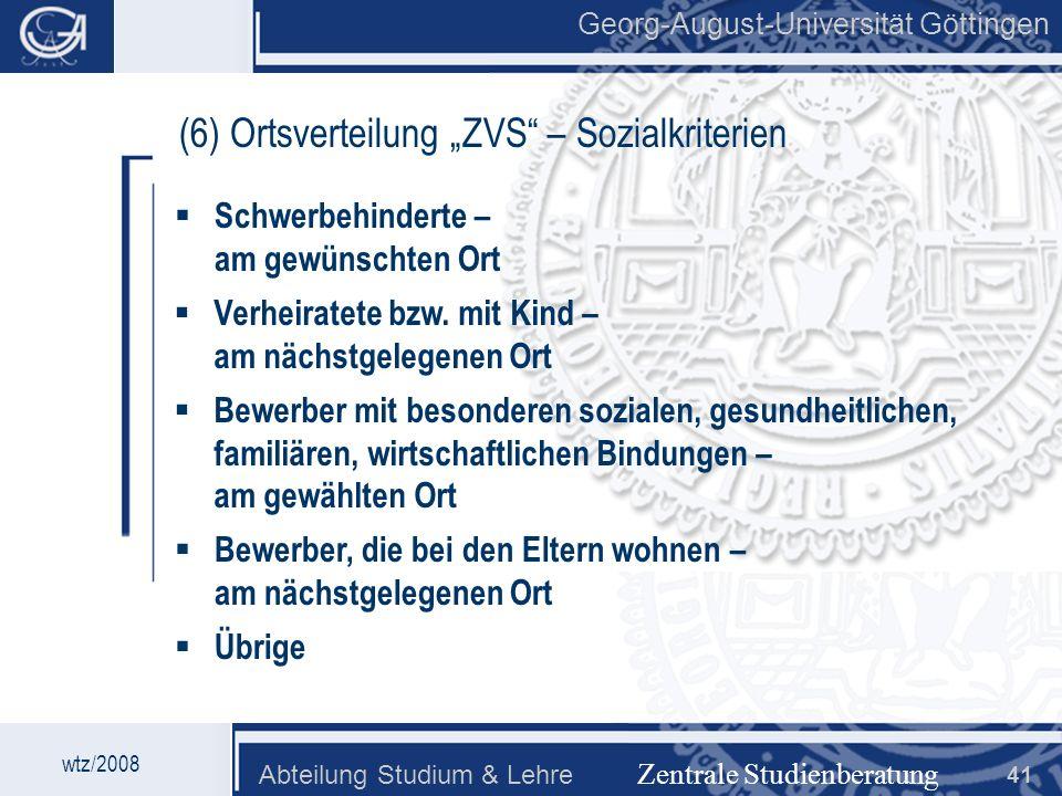 """(6) Ortsverteilung """"ZVS – Sozialkriterien"""