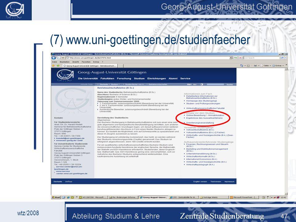 (7) www.uni-goettingen.de/studienfaecher