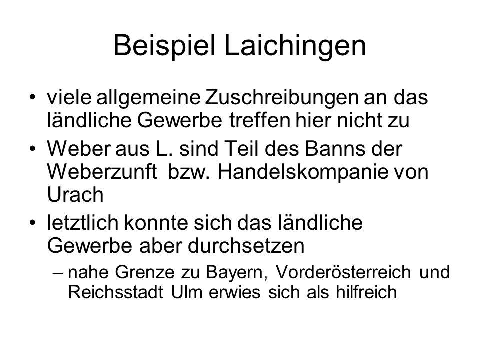 Beispiel Laichingen viele allgemeine Zuschreibungen an das ländliche Gewerbe treffen hier nicht zu.