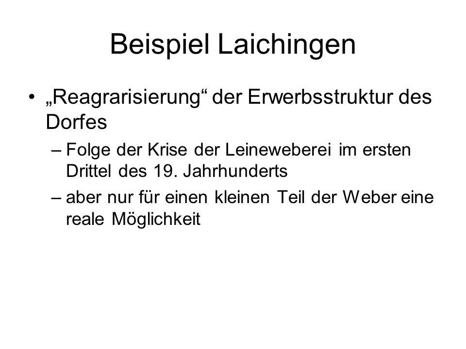 """Beispiel Laichingen """"Reagrarisierung der Erwerbsstruktur des Dorfes"""