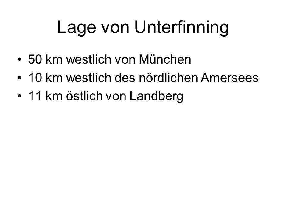 Lage von Unterfinning 50 km westlich von München