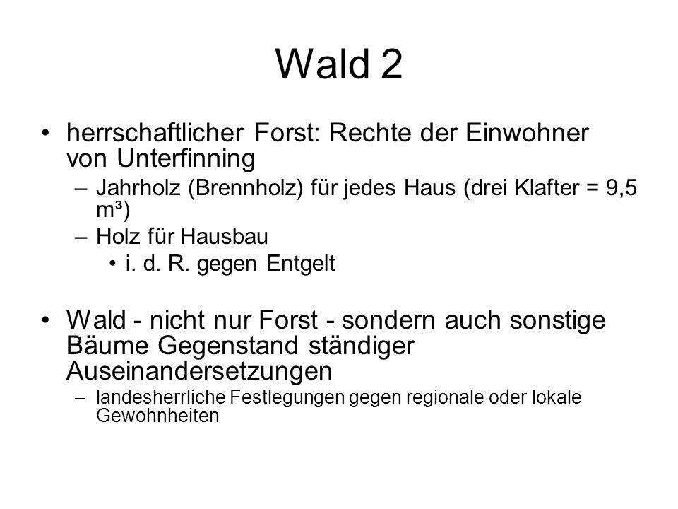 Wald 2 herrschaftlicher Forst: Rechte der Einwohner von Unterfinning