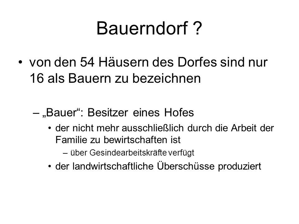 """Bauerndorf von den 54 Häusern des Dorfes sind nur 16 als Bauern zu bezeichnen. """"Bauer : Besitzer eines Hofes."""