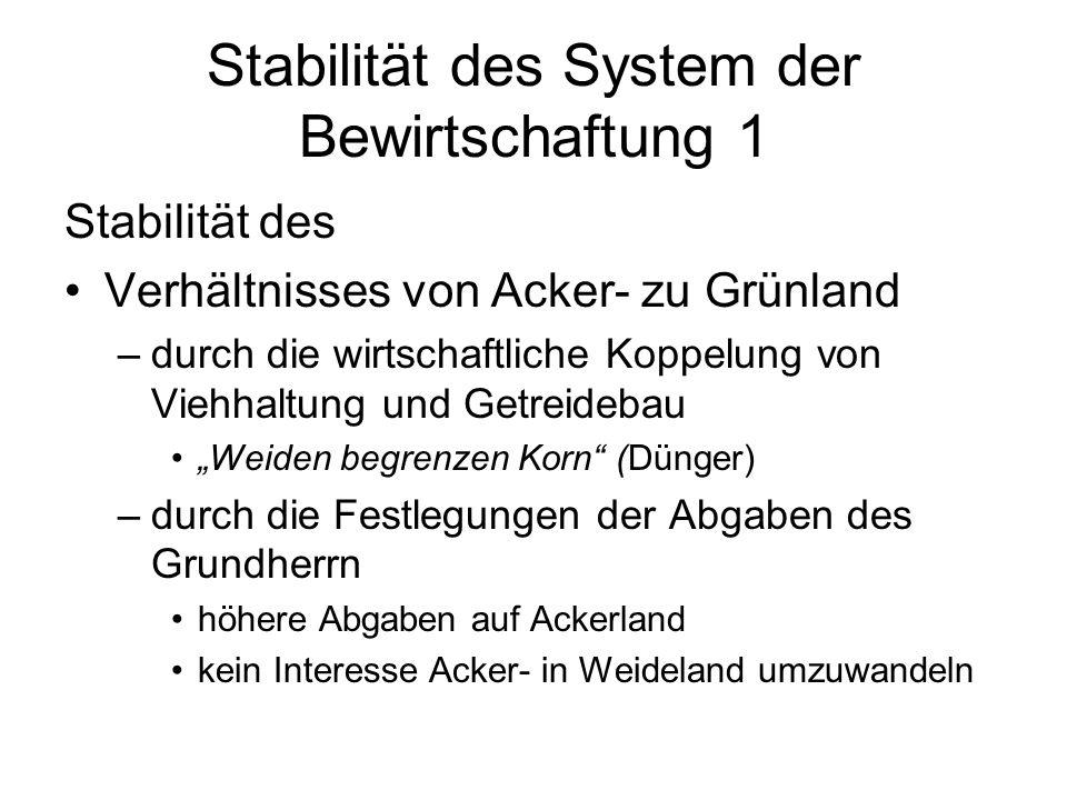 Stabilität des System der Bewirtschaftung 1