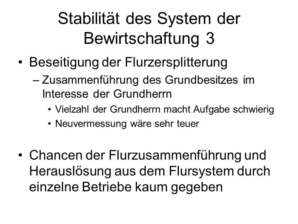 Stabilität des System der Bewirtschaftung 3