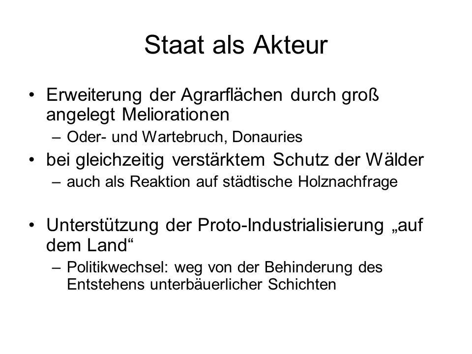 Staat als Akteur Erweiterung der Agrarflächen durch groß angelegt Meliorationen. Oder- und Wartebruch, Donauries.