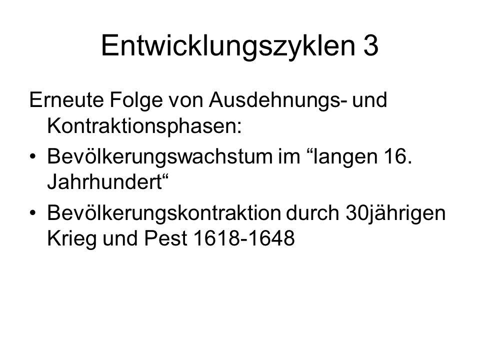 Entwicklungszyklen 3Erneute Folge von Ausdehnungs- und Kontraktionsphasen: Bevölkerungswachstum im langen 16. Jahrhundert