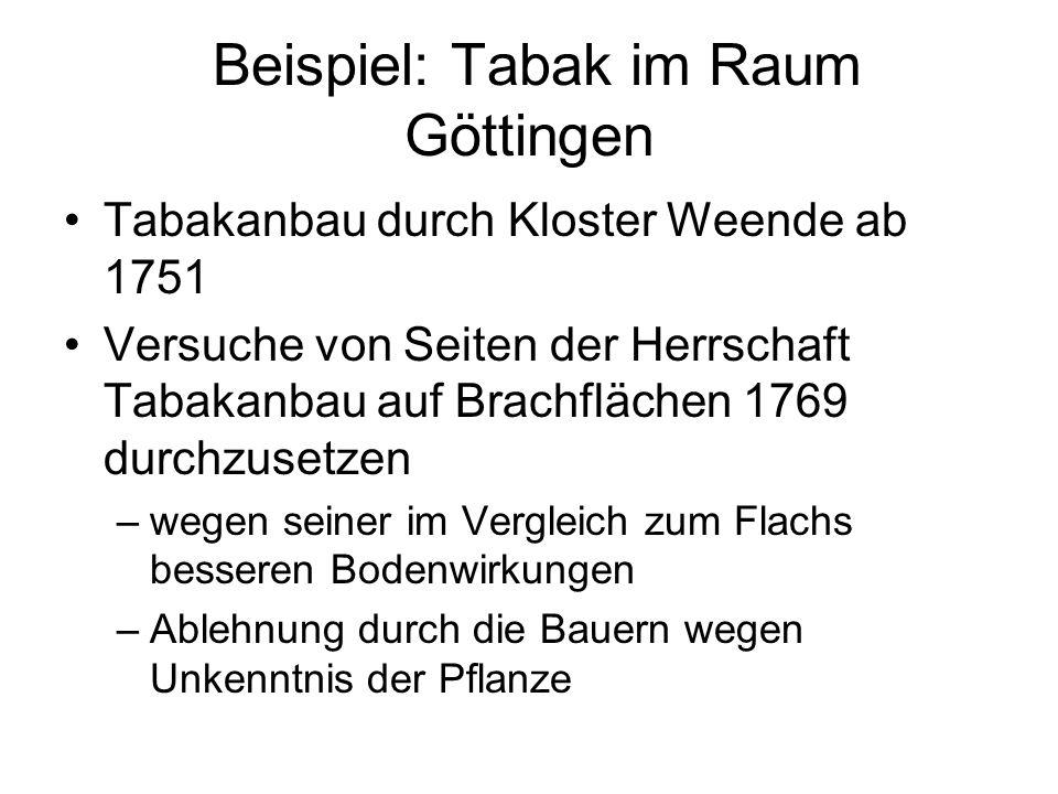 Beispiel: Tabak im Raum Göttingen