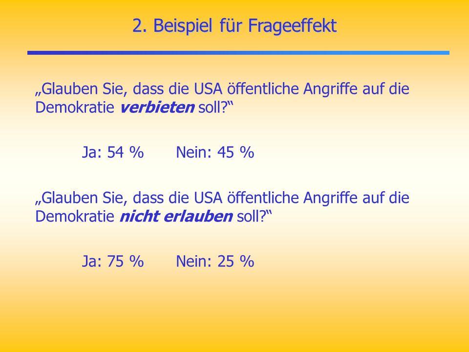 2. Beispiel für Frageeffekt