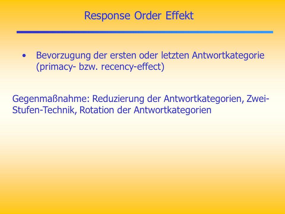 Response Order Effekt Bevorzugung der ersten oder letzten Antwortkategorie (primacy- bzw. recency-effect)