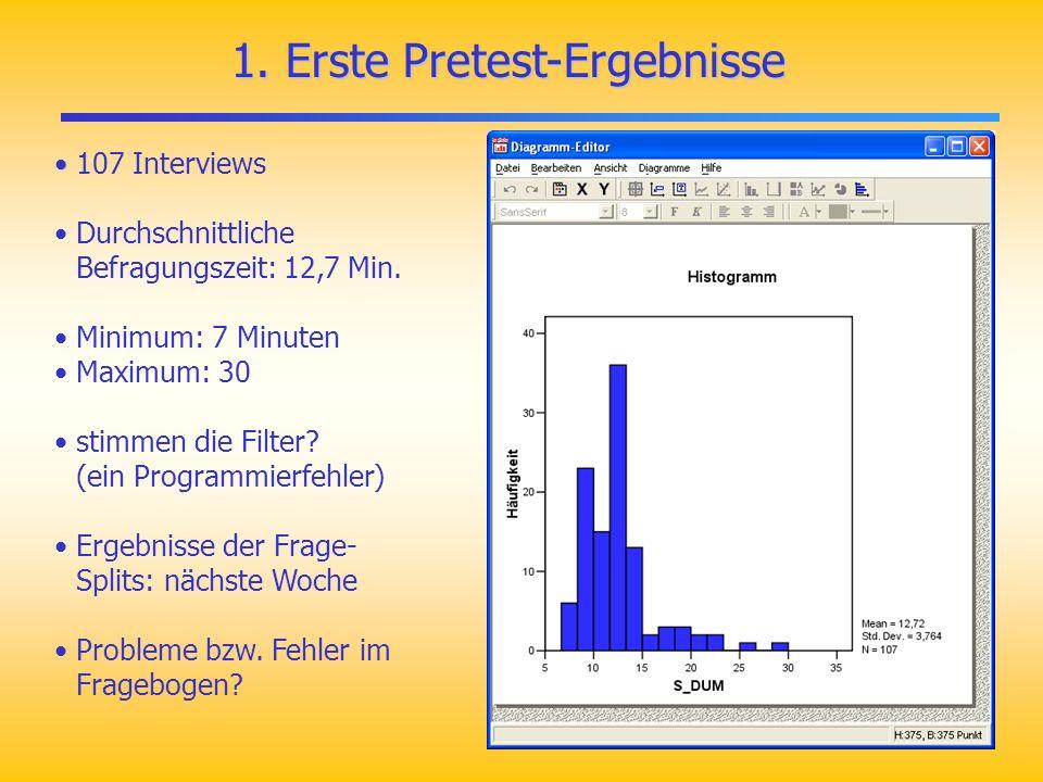 1. Erste Pretest-Ergebnisse