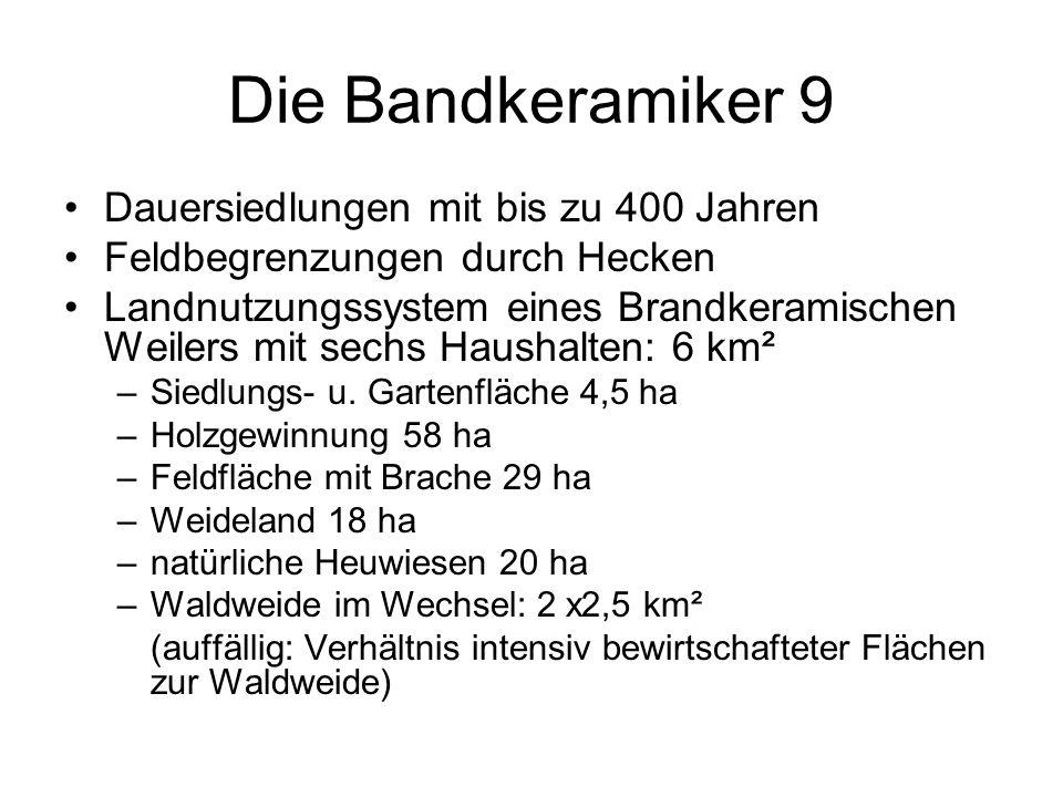 Die Bandkeramiker 9 Dauersiedlungen mit bis zu 400 Jahren