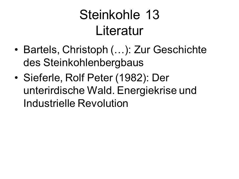 Steinkohle 13 Literatur Bartels, Christoph (…): Zur Geschichte des Steinkohlenbergbaus.