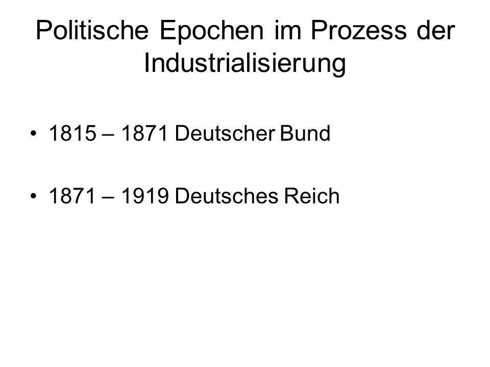 Politische Epochen im Prozess der Industrialisierung