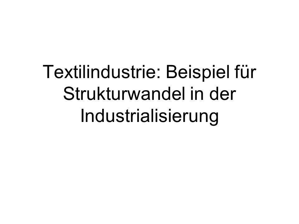 Textilindustrie: Beispiel für Strukturwandel in der Industrialisierung