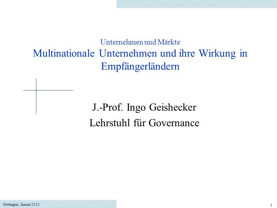 J.-Prof. Ingo Geishecker Lehrstuhl für Governance