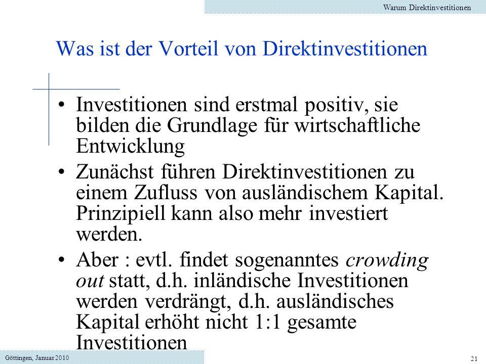 Was ist der Vorteil von Direktinvestitionen