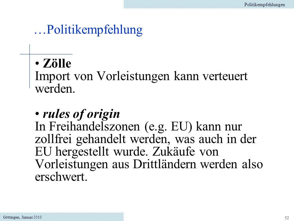 Import von Vorleistungen kann verteuert werden. rules of origin