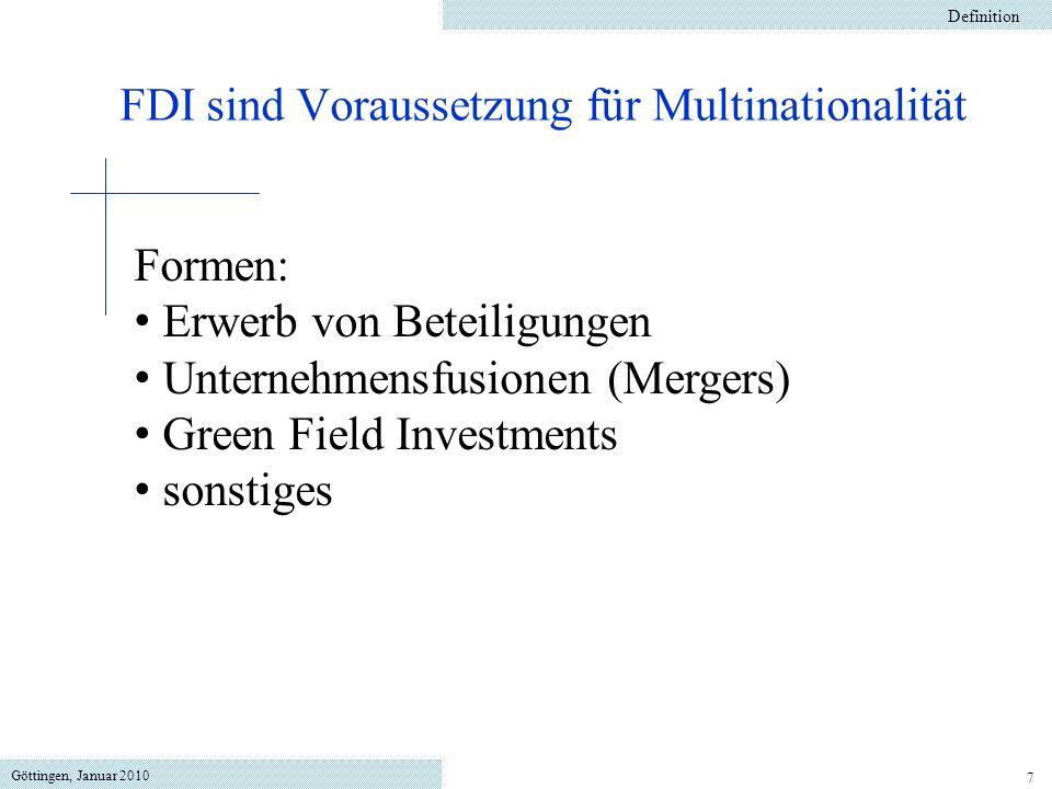 FDI sind Voraussetzung für Multinationalität