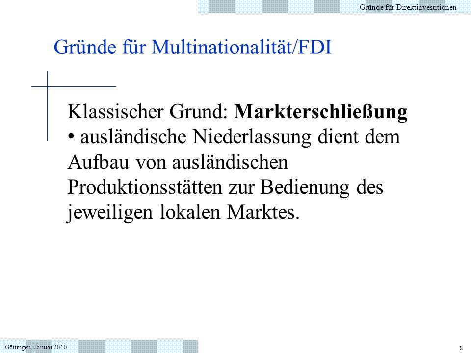 Gründe für Multinationalität/FDI