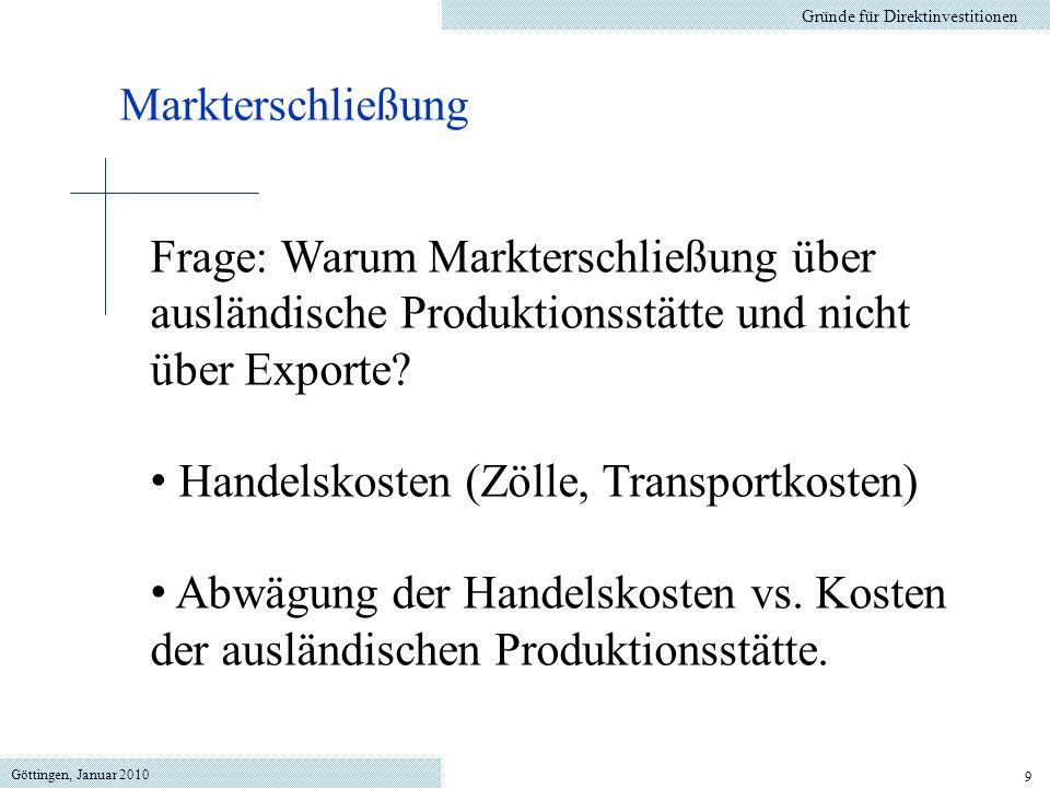 Handelskosten (Zölle, Transportkosten)