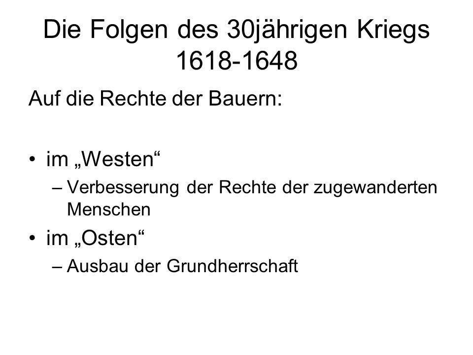 Die Folgen des 30jährigen Kriegs 1618-1648