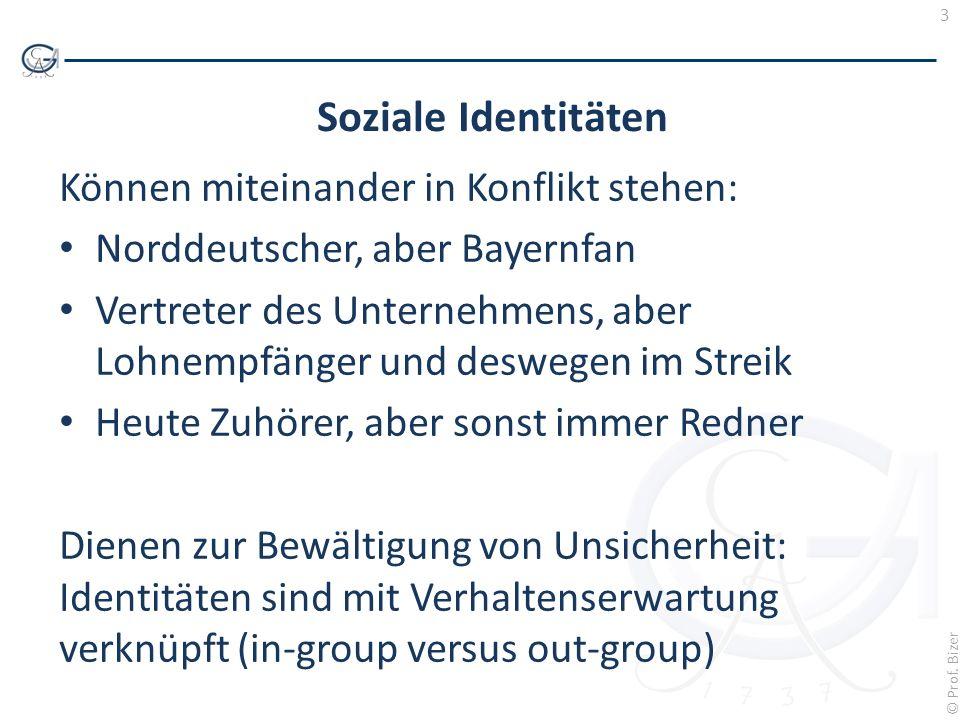 Soziale Identitäten Können miteinander in Konflikt stehen: