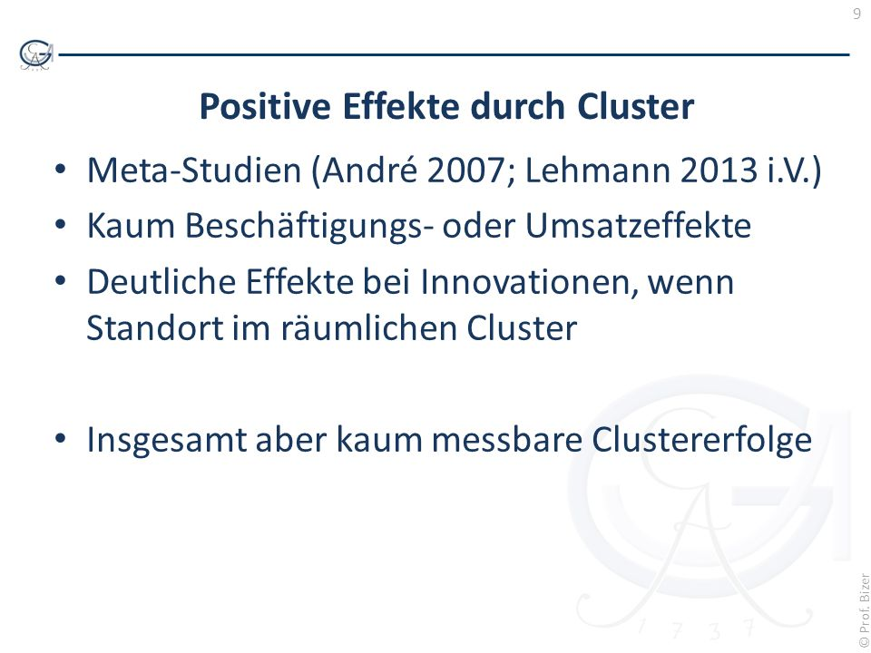 Positive Effekte durch Cluster