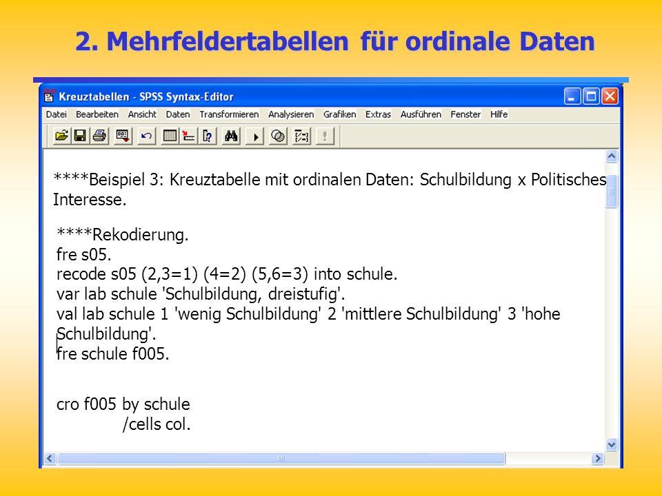 2. Mehrfeldertabellen für ordinale Daten
