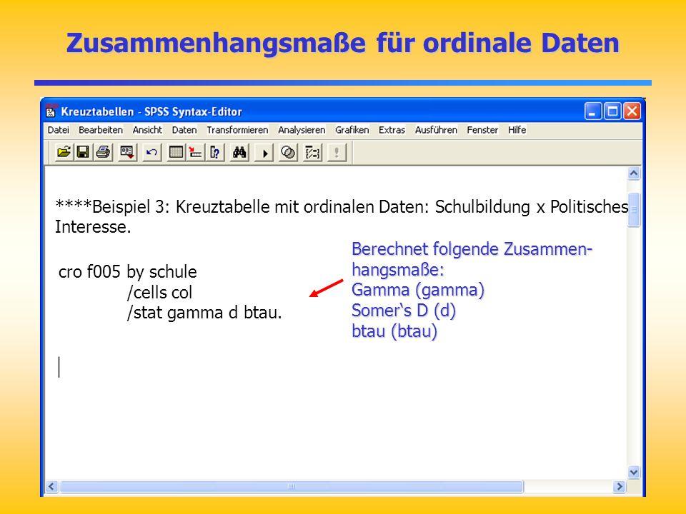 Zusammenhangsmaße für ordinale Daten