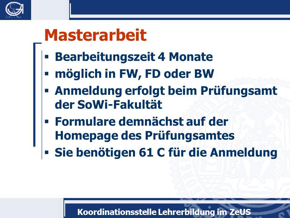 Masterarbeit Bearbeitungszeit 4 Monate möglich in FW, FD oder BW