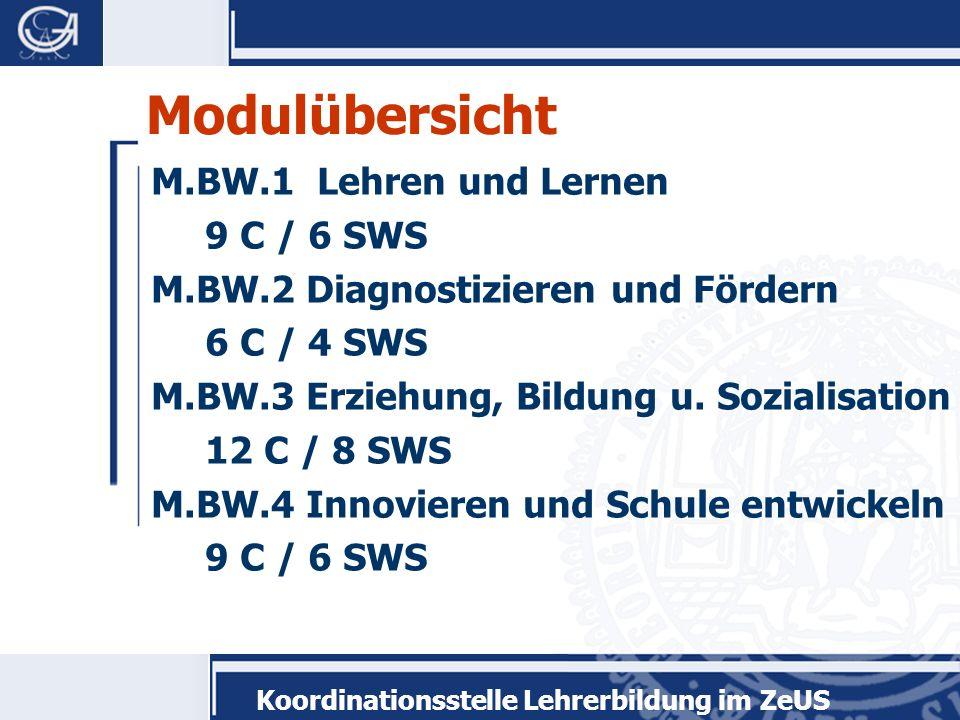 Modulübersicht M.BW.1 Lehren und Lernen 9 C / 6 SWS