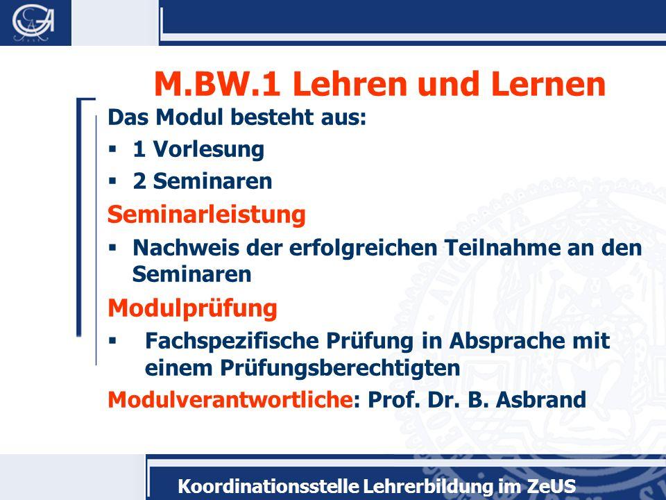 M.BW.1 Lehren und Lernen Seminarleistung Modulprüfung