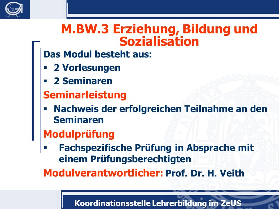 M.BW.3 Erziehung, Bildung und Sozialisation