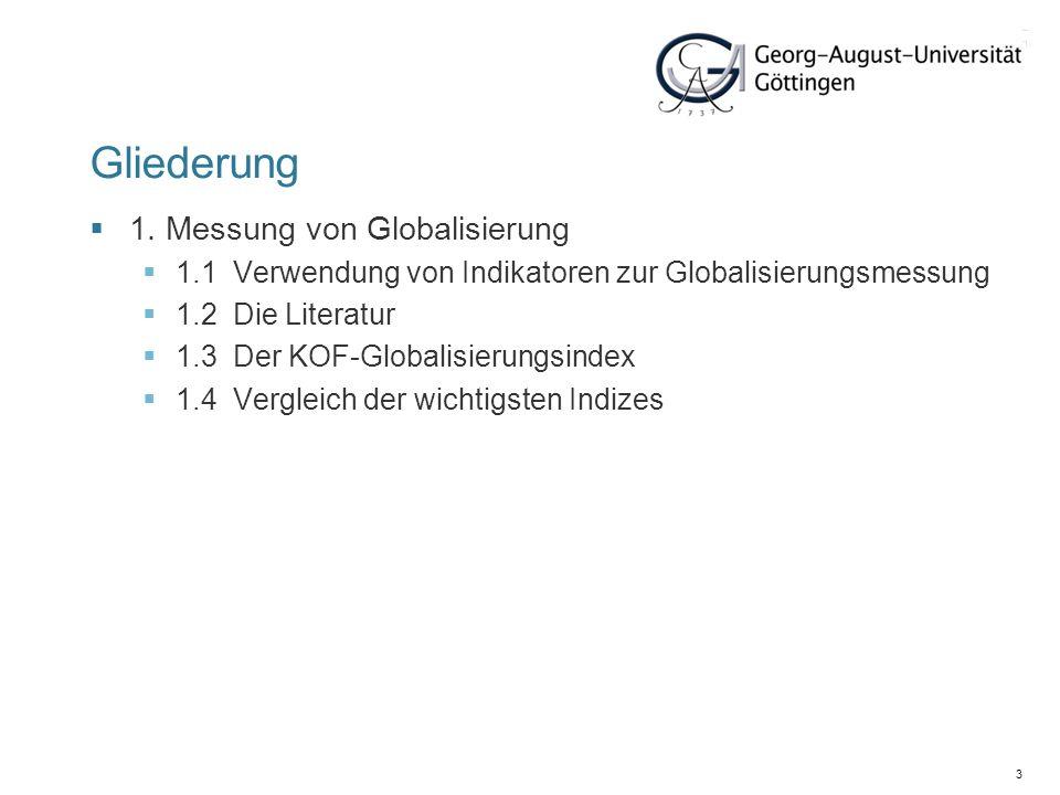 Gliederung 1. Messung von Globalisierung