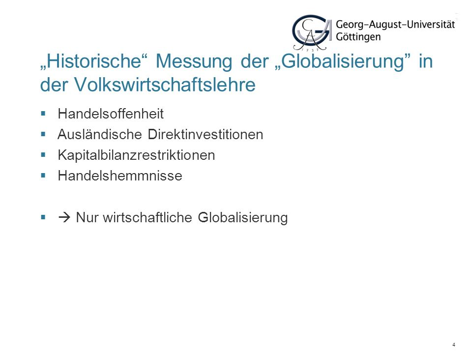 """27. März 2017 """"Historische Messung der """"Globalisierung in der Volkswirtschaftslehre. Handelsoffenheit."""