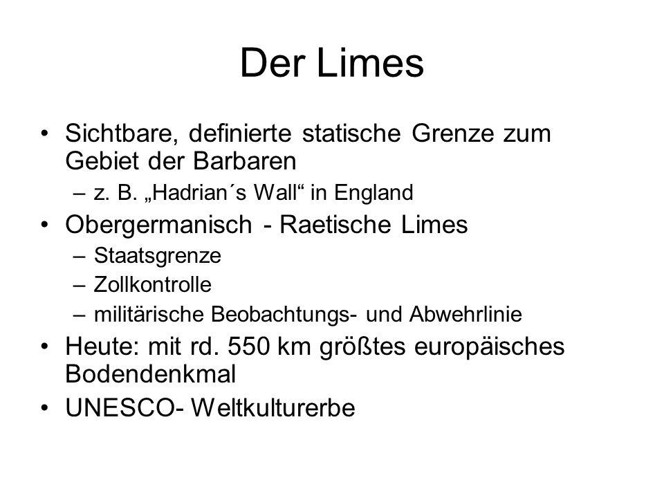 """Der Limes Sichtbare, definierte statische Grenze zum Gebiet der Barbaren. z. B. """"Hadrian´s Wall in England."""