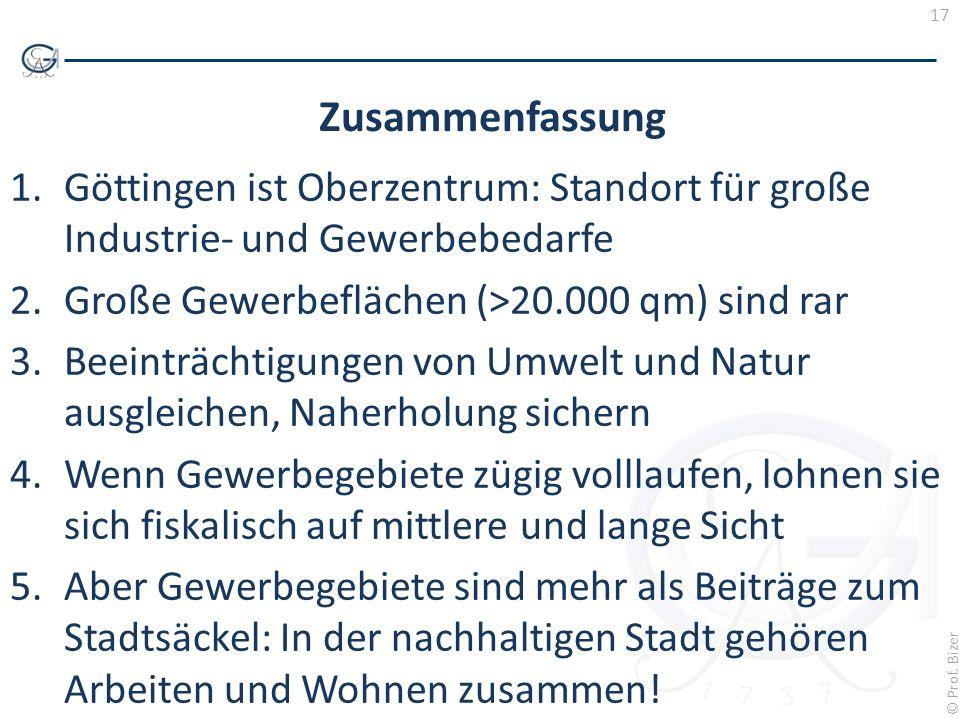 Zusammenfassung Göttingen ist Oberzentrum: Standort für große Industrie- und Gewerbebedarfe. Große Gewerbeflächen (>20.000 qm) sind rar.