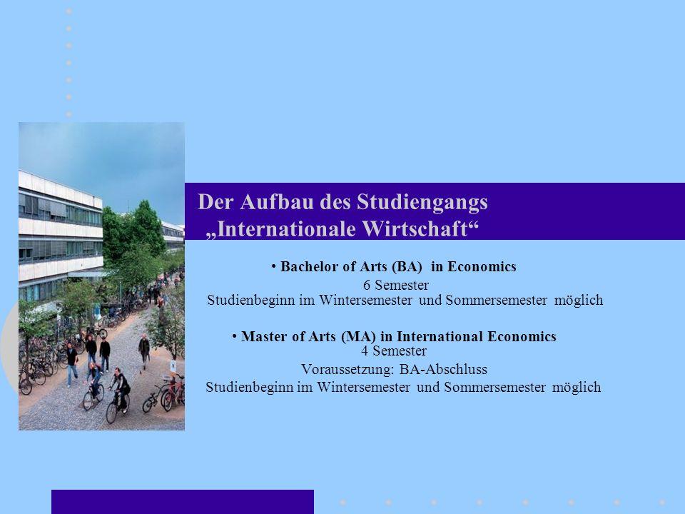 """Der Aufbau des Studiengangs """"Internationale Wirtschaft"""