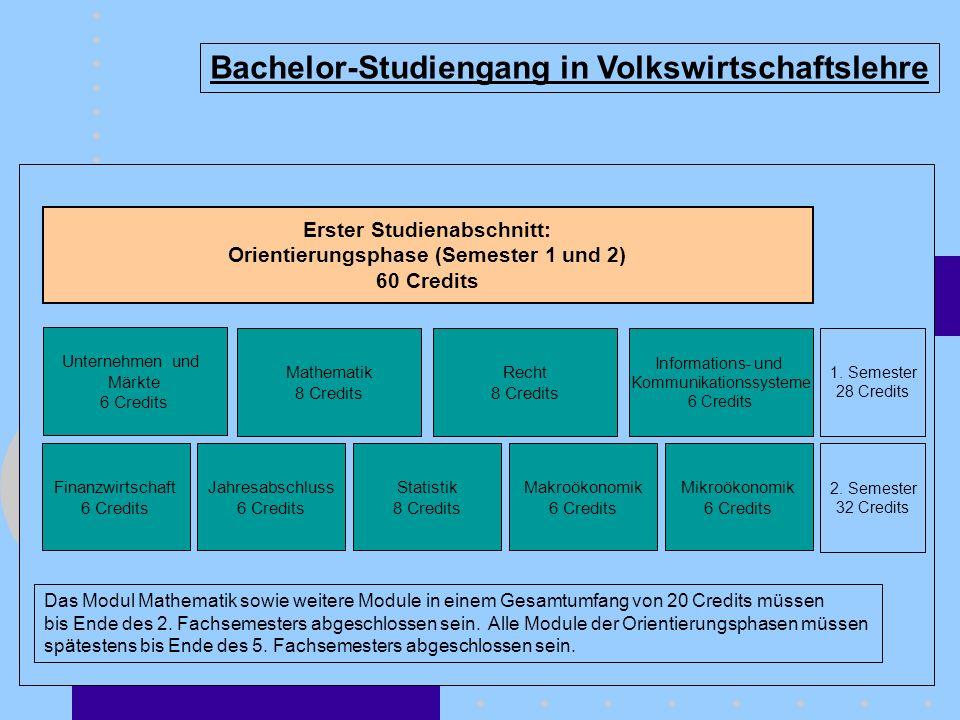 Erster Studienabschnitt: Orientierungsphase (Semester 1 und 2)