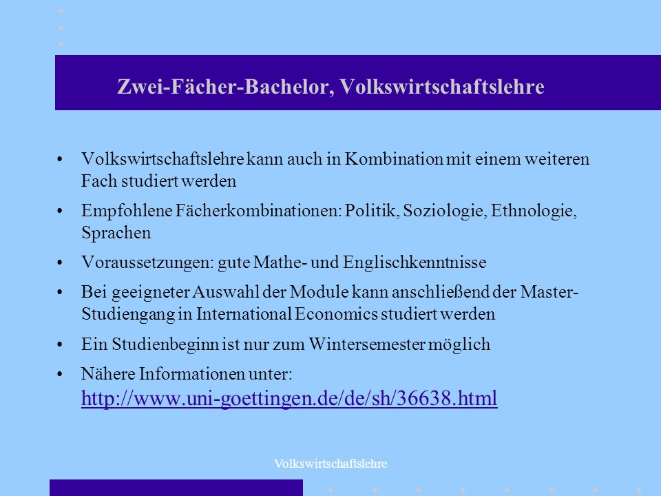 Zwei-Fächer-Bachelor, Volkswirtschaftslehre