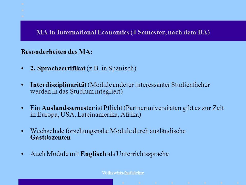MA in International Economics (4 Semester, nach dem BA)
