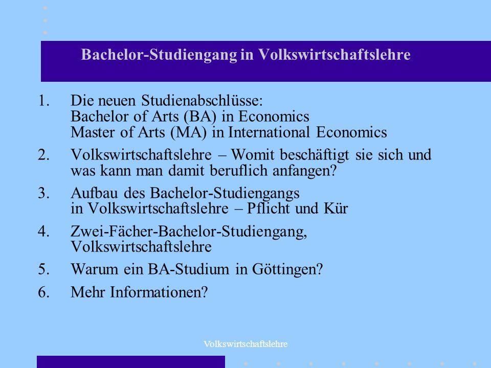 Bachelor-Studiengang in Volkswirtschaftslehre