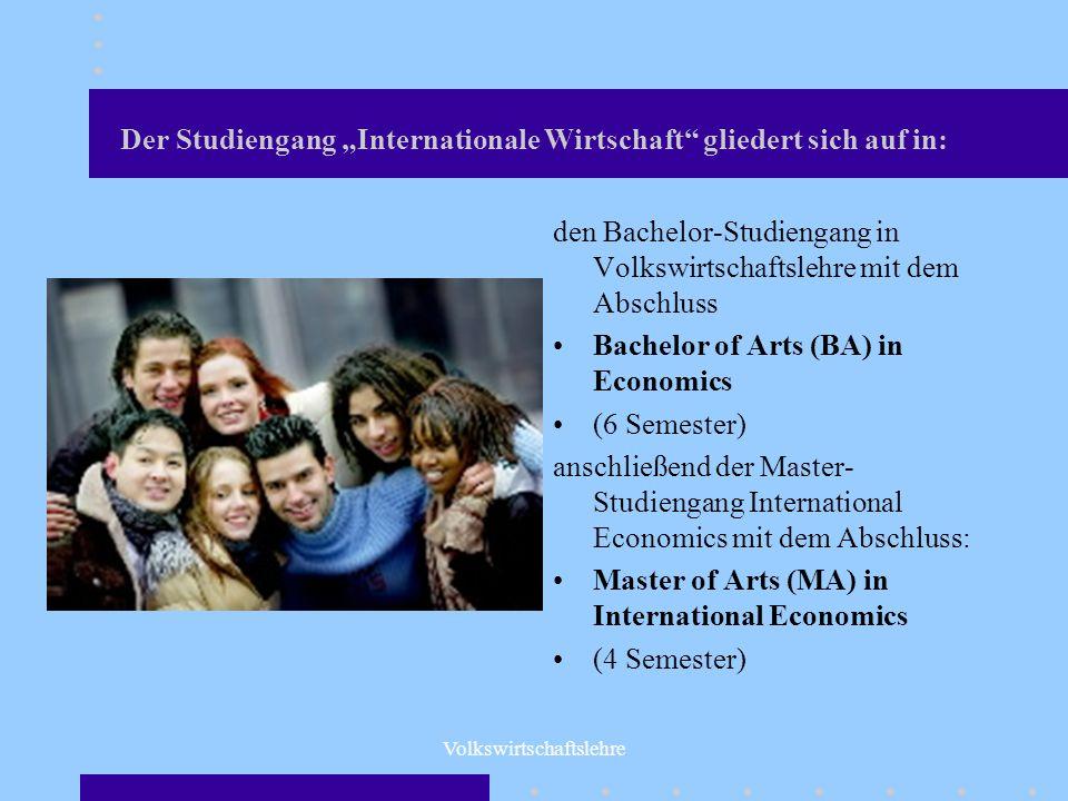 """Der Studiengang """"Internationale Wirtschaft gliedert sich auf in:"""