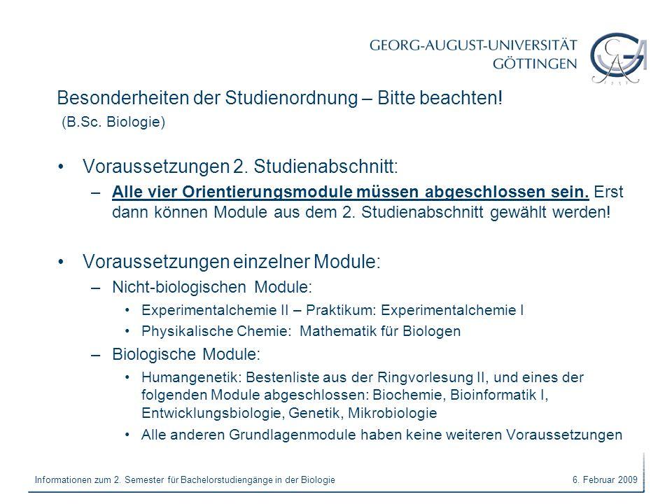 Besonderheiten der Studienordnung – Bitte beachten! (B.Sc. Biologie)